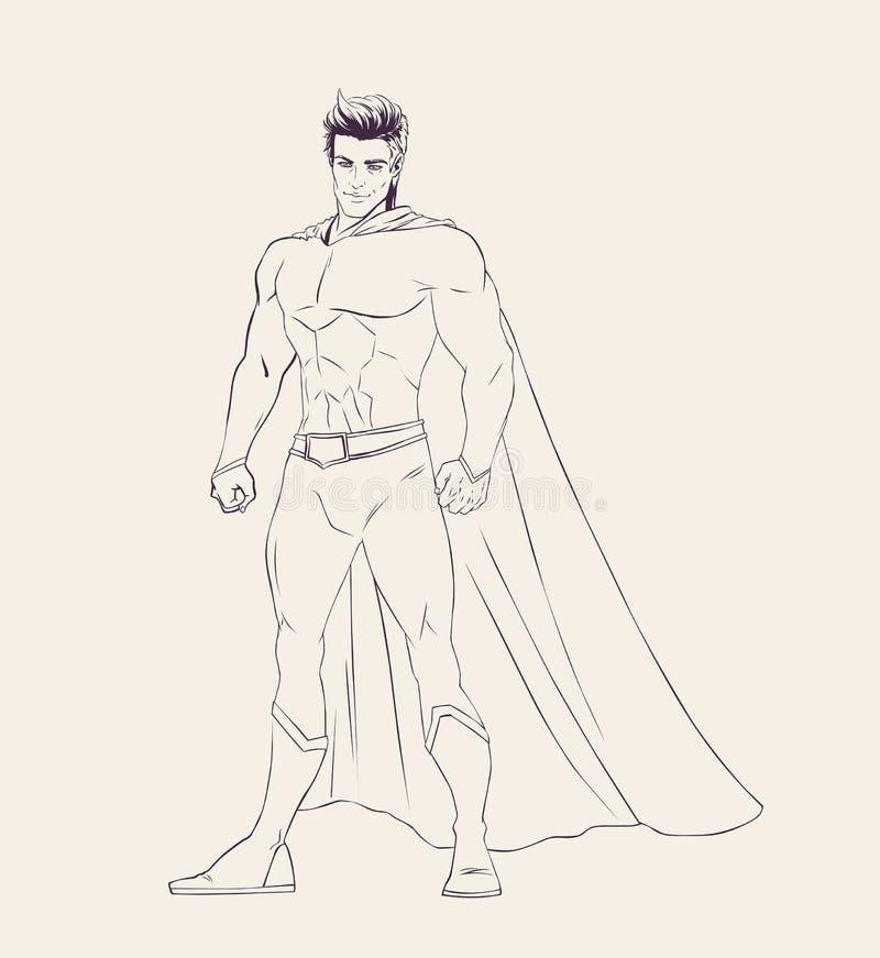 Illustrazione dell'eroe eccellente nella posa stante royalty illustrazione gratis