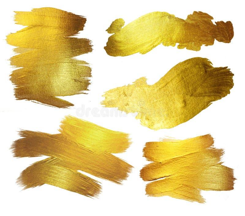 Illustrazione dell'estratto della macchia della pittura di struttura dell'acquerello dell'oro Il colpo brillante della spazzola h fotografia stock