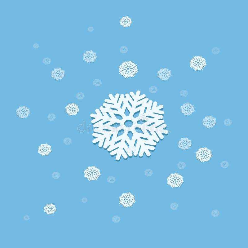 illustrazione dell'estratto di esplosione del fiocco di neve di vettore 3D isolata su fondo blu illustrazione di stock