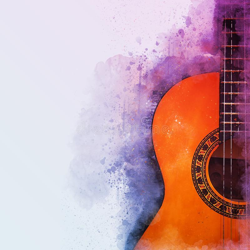Illustrazione dell'estratto di stile dell'acquerello della chitarra acustica illustrazione vettoriale
