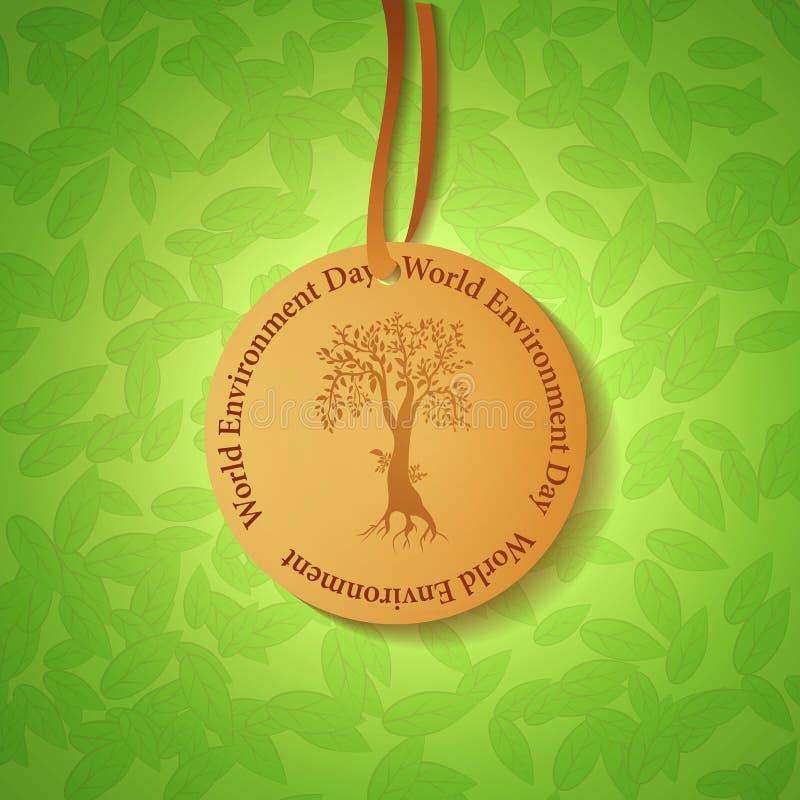 Illustrazione dell'etichetta rotonda con un albero e un titolo illustrazione di stock