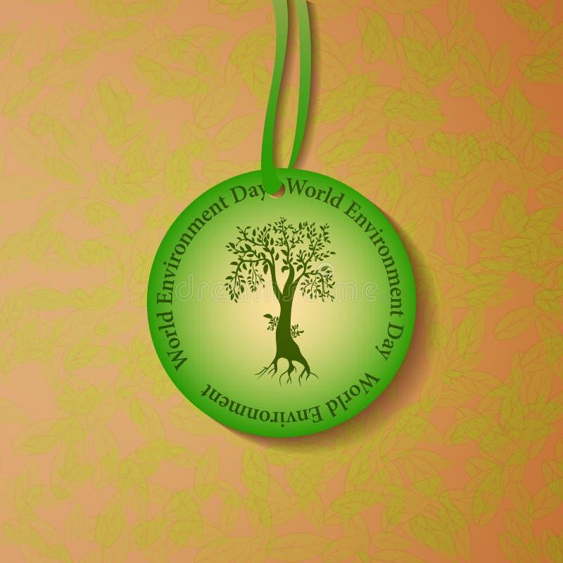 Illustrazione dell'etichetta rotonda con un albero e un titolo illustrazione vettoriale