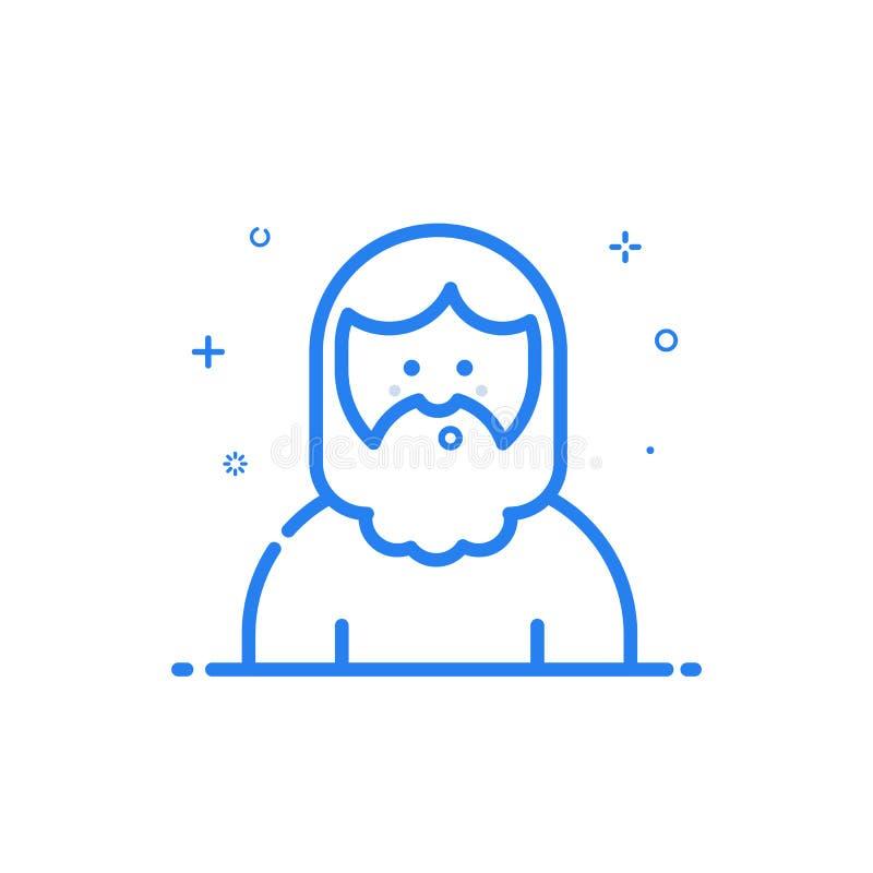illustrazione dell'icona blu nella linea stile piana Uomo sveglio e felice blu lineare illustrazione di stock