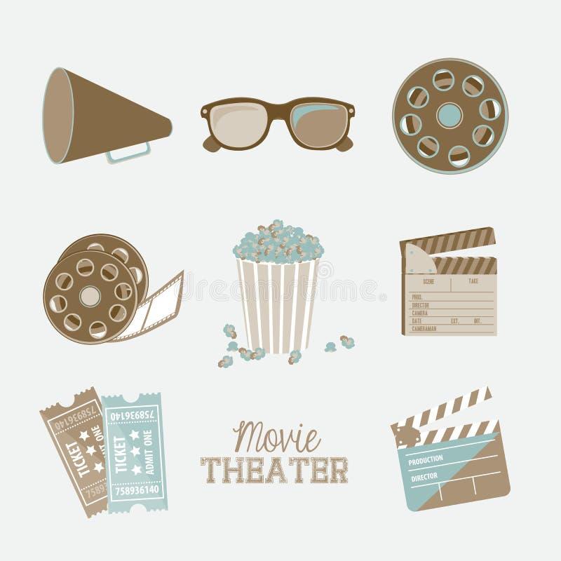 Icone di cinematografia illustrazione vettoriale