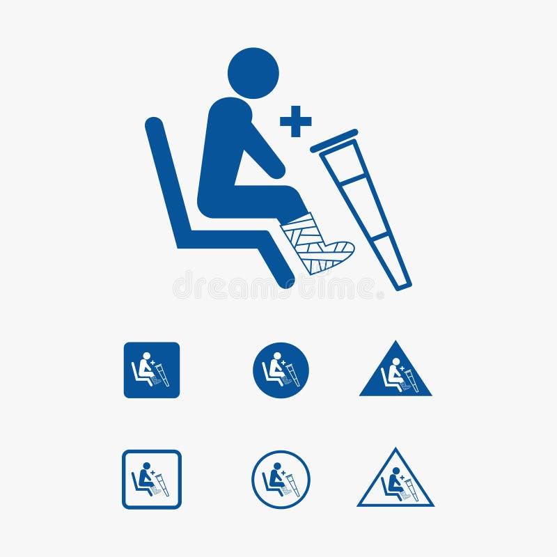 Illustrazione dell'icona del sedile di priorità per handicappato fisicamente illustrazione di stock