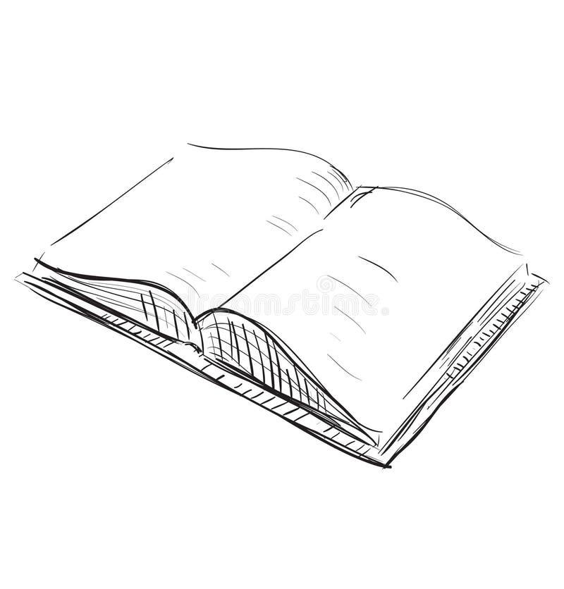 Illustrazione dell'icona di schizzo del libro aperto illustrazione vettoriale