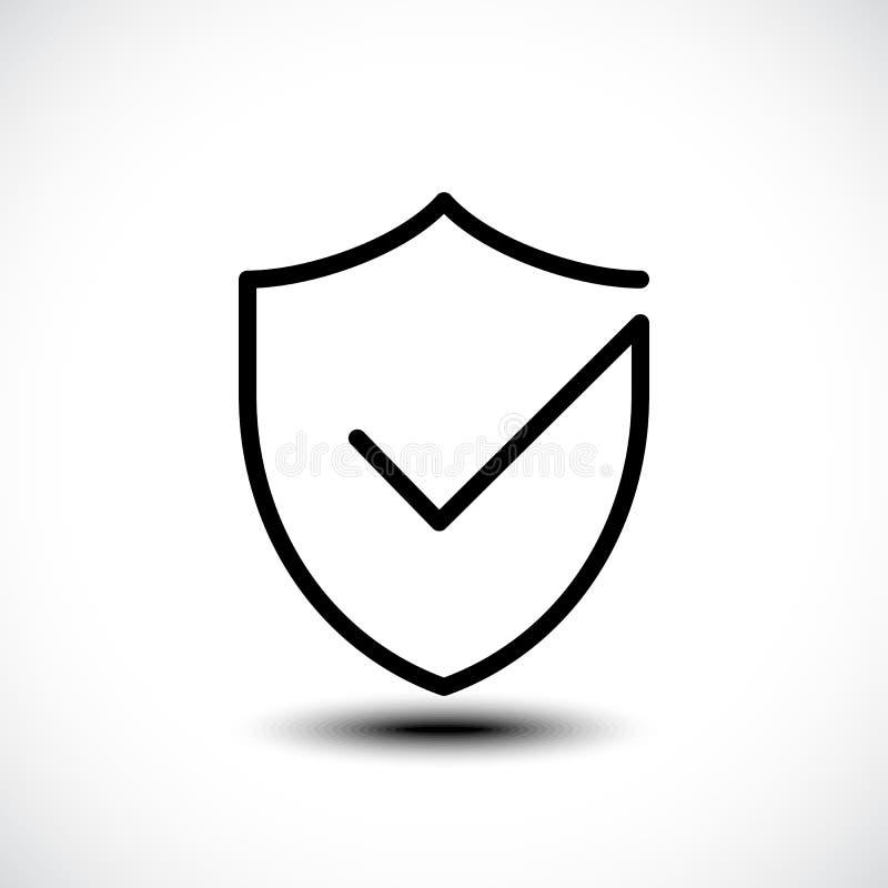 Illustrazione dell'icona di sicurezza dello schermo del segno di spunta immagini stock