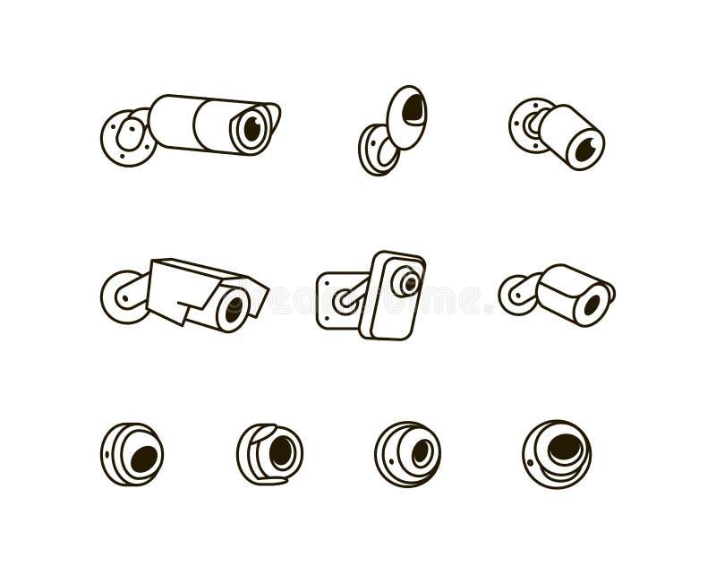 Illustrazione dell'icona di vettore della videocamera di sicurezza del CCTV di sorveglianza isolata su fondo bianco royalty illustrazione gratis