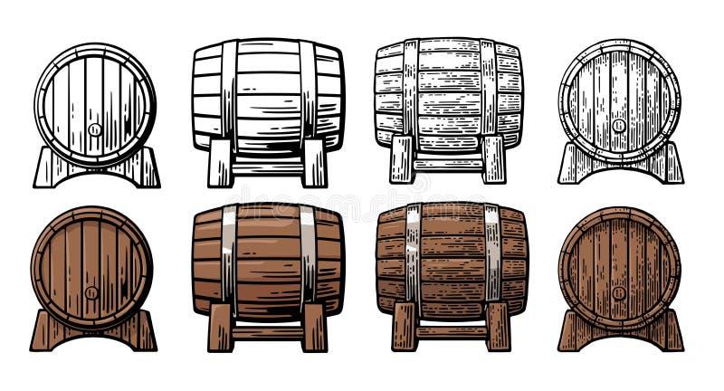 Illustrazione dell'incisione di vista laterale anteriore e del barilotto di legno illustrazione di stock