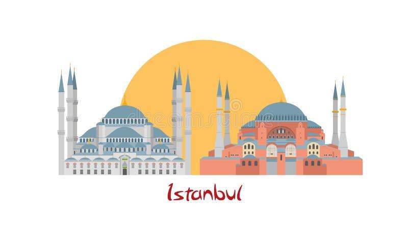 Illustrazione dell'insegna di Costantinopoli con la moschea blu e Hagia Sophia illustrazione di stock