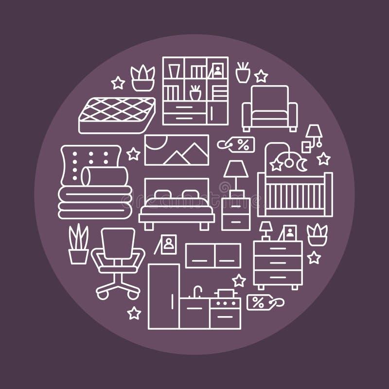 Illustrazione dell'insegna di vendita della mobilia con la linea piana icone Manifesto interno del deposito con il salone, camera royalty illustrazione gratis
