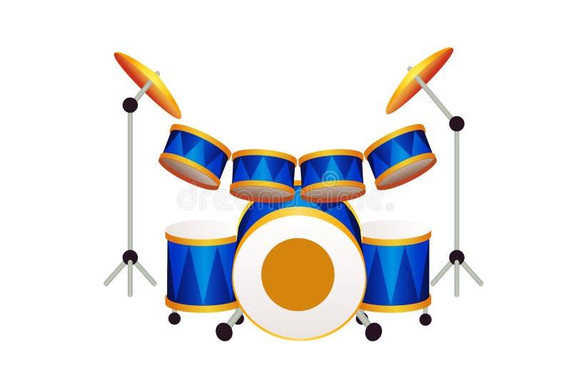 Illustrazione dell'insieme del tamburo su fondo bianco royalty illustrazione gratis