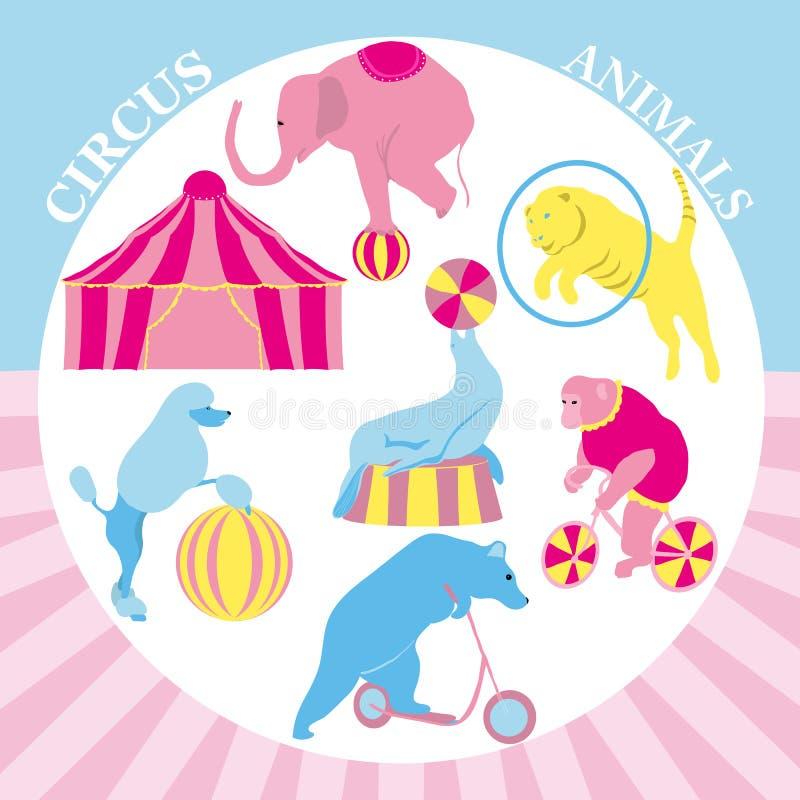 Illustrazione dell'insieme di clipart del circo Raccolta d'annata dei pantaloni a vita bassa con la scimmia, tigre, orso, elefant illustrazione vettoriale