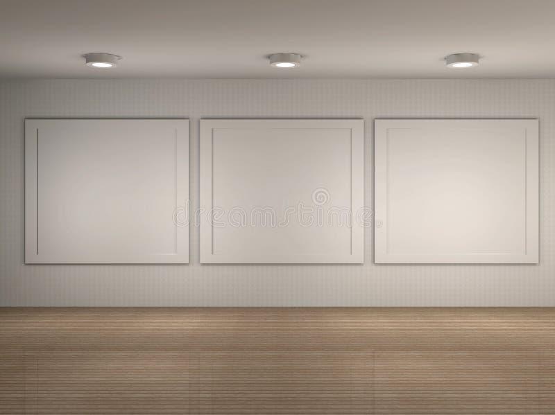 Illustrazione Dell Interiore Del Museo Con I Blocchi Per Grafici Fotografia Stock