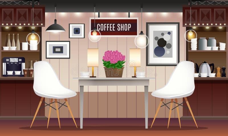 Illustrazione dell'interno della caffetteria illustrazione vettoriale