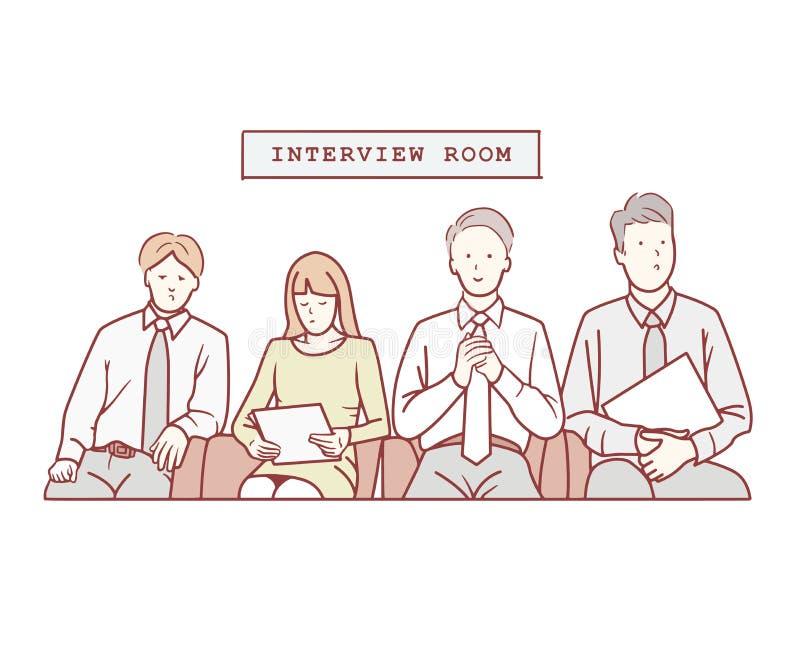 Illustrazione dell'intervista aspettante del cercatore di lavoro Disegnato a mano illustrazione di stock