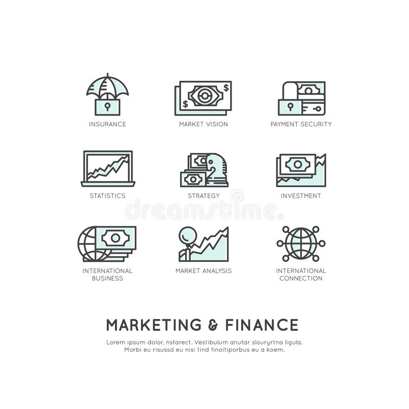 Illustrazione dell'introduzione sul mercato e della finanza, visione di affari, investimento, processo della gestione, lavoro di  illustrazione vettoriale