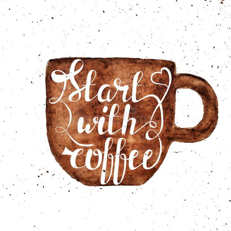 Illustrazione dell'iscrizione della tazza e della mano di caffè di tiraggio della mano dell'acquerello royalty illustrazione gratis