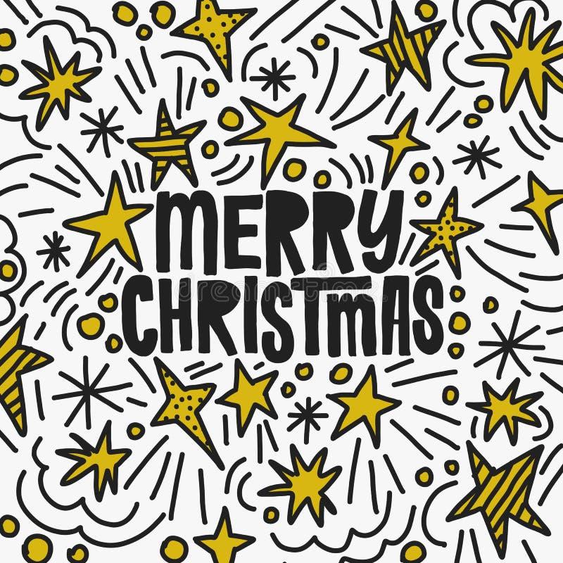 Illustrazione dell'iscrizione di vettore di Natale Cartolina d'auguri di vacanza invernale CS3 Stelle e decorazione disegnate a m illustrazione vettoriale