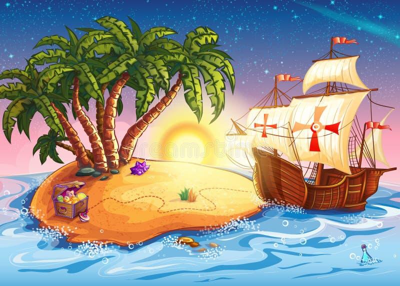 Illustrazione dell'isola del tesoro con la caravella della nave illustrazione di stock