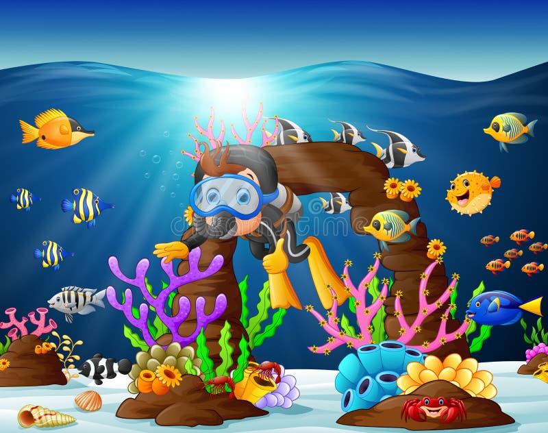 Illustrazione dell'operatore subacqueo sotto il mare illustrazione vettoriale
