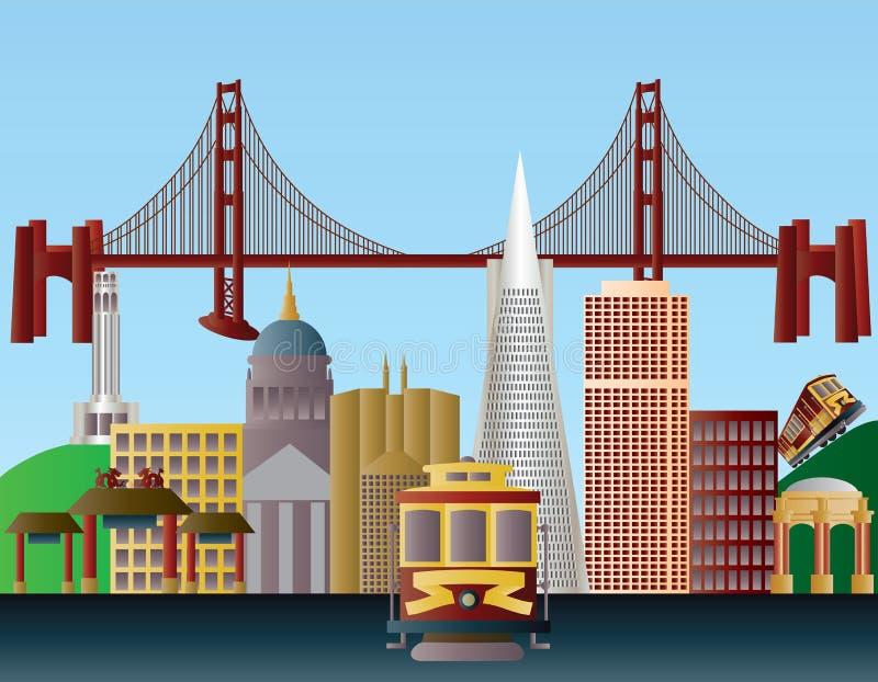 Illustrazione dell'orizzonte della città di San Francisco illustrazione di stock