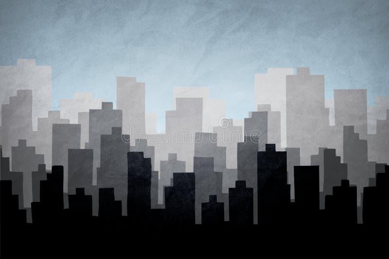 Illustrazione dell'orizzonte della citt? Siluetta di paesaggio del centro ed urbano fotografia stock libera da diritti