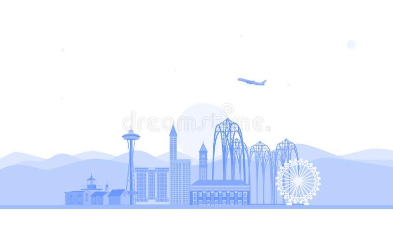 Illustrazione dell'orizzonte di Seattle Illustrazione piana di vettore Concetto di viaggio d'affari e di turismo con le costruzio illustrazione vettoriale