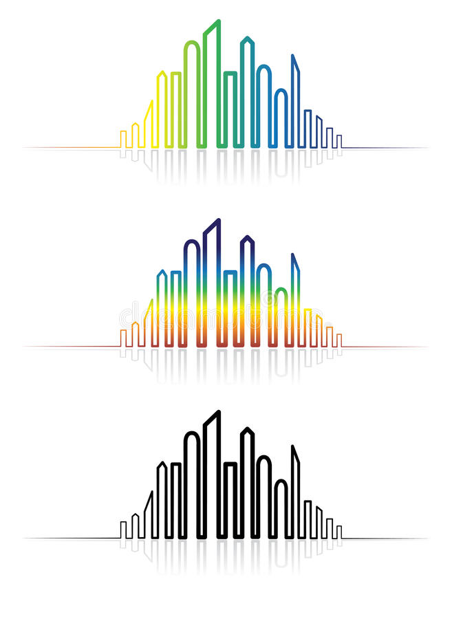 Illustrazione dell'orizzonte metropolitano variopinto della città illustrazione di stock