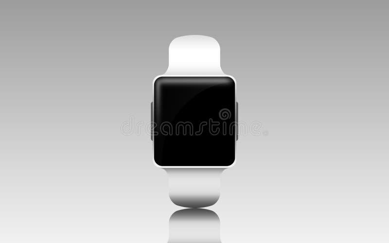 Illustrazione dell'orologio astuto con lo schermo in bianco nero illustrazione di stock