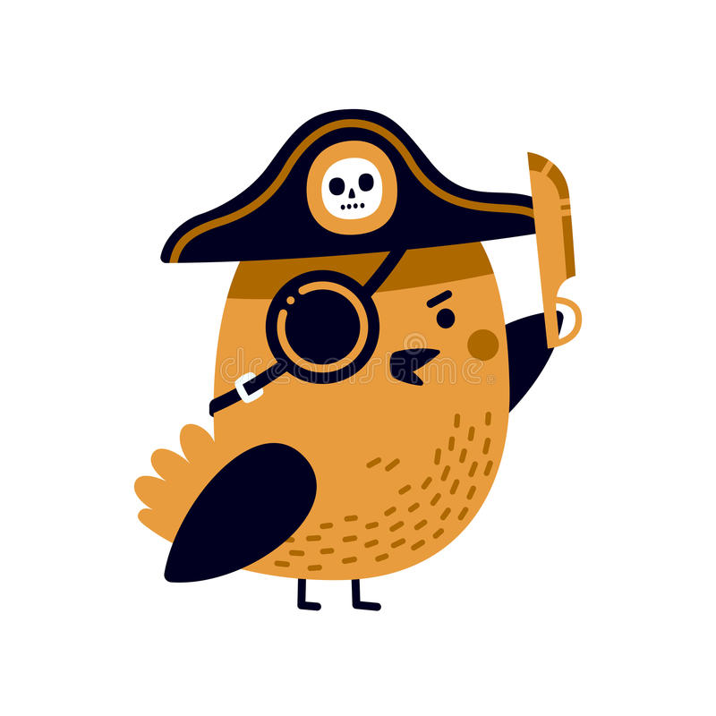 Illustrazione dell'uccello adorabile del pirata con il cappello di capitano, la toppa dell'occhio e la lama tagliente royalty illustrazione gratis