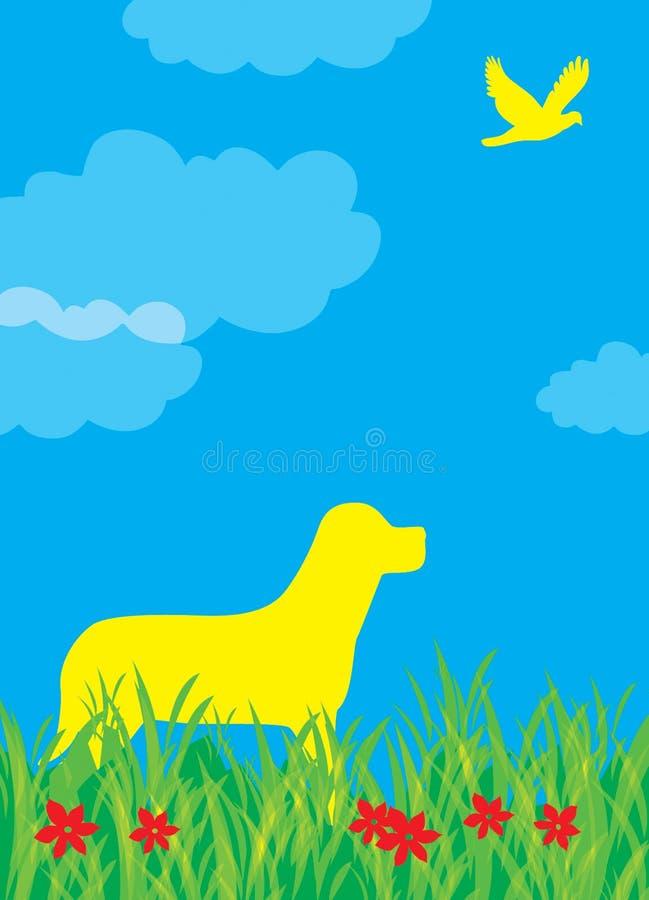 Illustrazione Dell Uccello E Del Cane Fotografia Stock