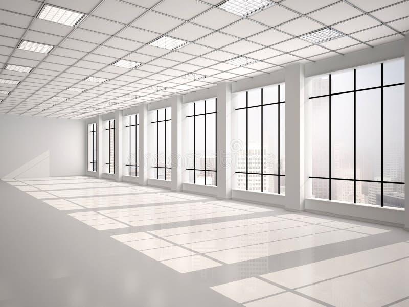 Illustrazione dell'ufficio vuoto con le grandi finestre illustrazione vettoriale