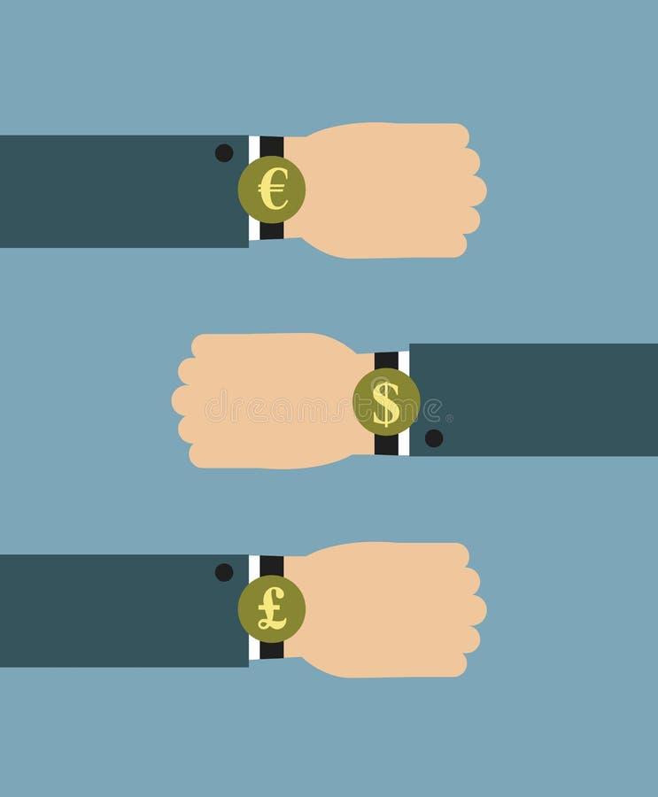 Illustrazione dell'uomo d'affari che dura sopra l'orologio graduato con i segni di valuta illustrazione di stock