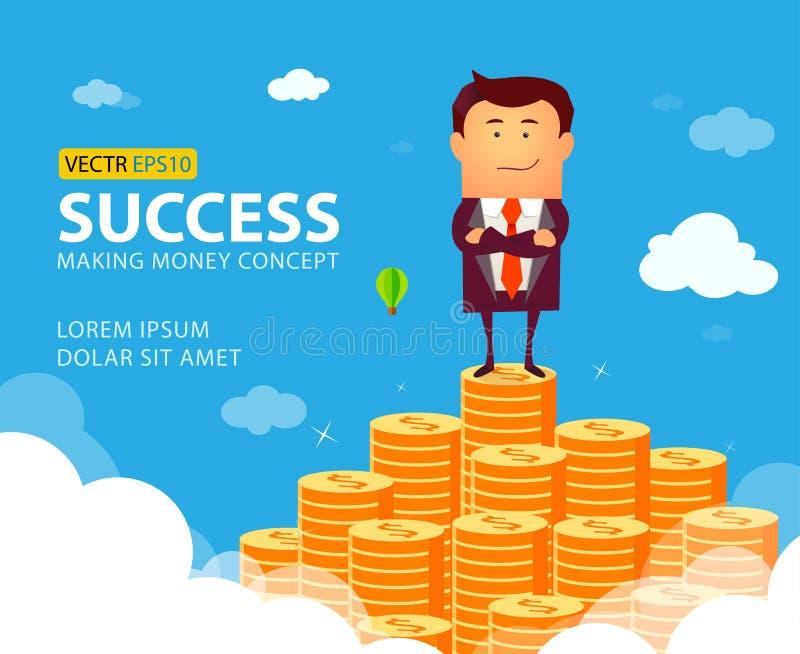 Illustrazione dell'uomo d'affari che sta fiero sulla scala enorme dei soldi illustrazione vettoriale