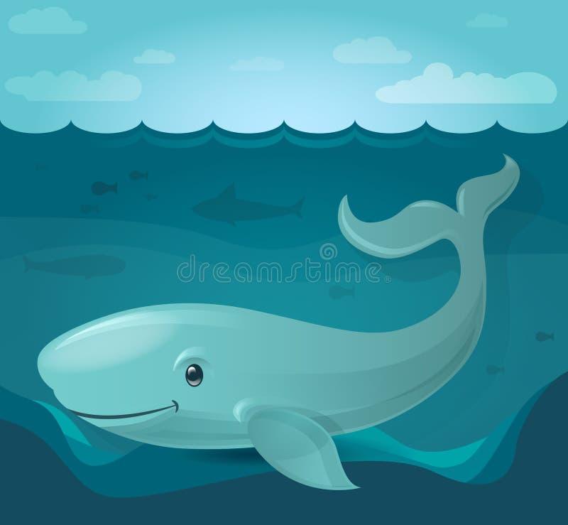 Illustrazione della balena blu fotografia stock libera da diritti