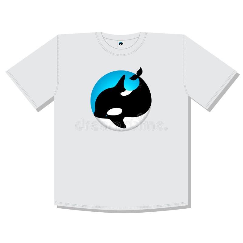 Illustrazione della balena dell'orca Icona sveglia dell'orca Emblemi dell'animale dell'oceano La balena è isolata, su un cerchio  illustrazione vettoriale
