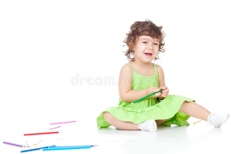 Illustrazione della bambina con le matite di colore fotografie stock libere da diritti