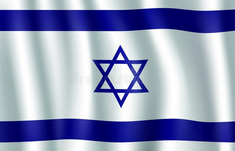 Illustrazione della bandiera 3d di Israele con la stella di Davide illustrazione vettoriale
