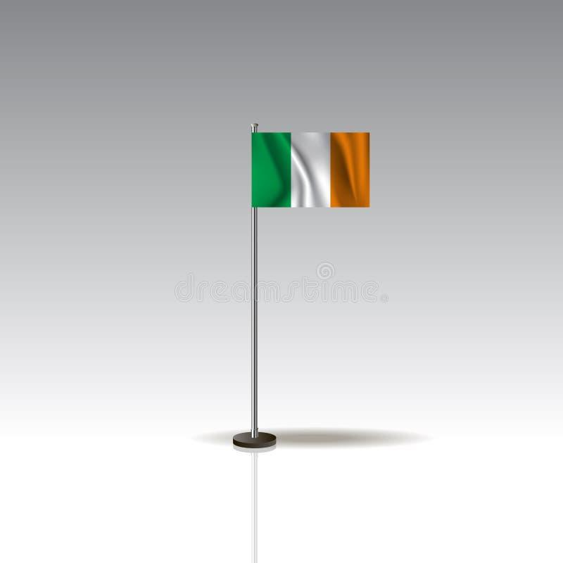 Illustrazione della bandiera del paese dell'IRLANDA Bandiera nazionale dell'IRLANDA isolata su fondo grigio royalty illustrazione gratis
