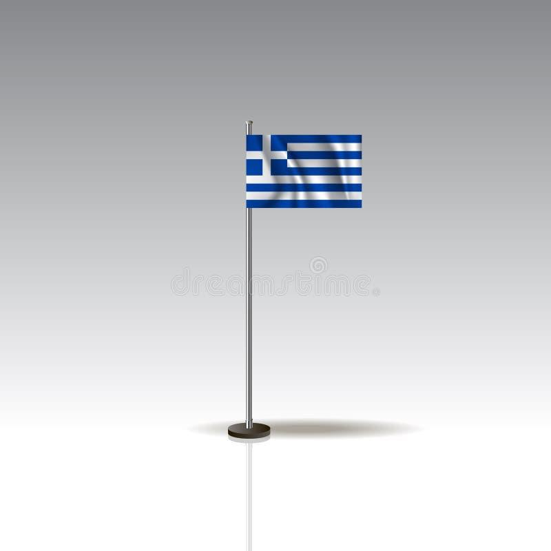 Illustrazione della bandiera del paese della GRECIA Bandiera nazionale della GRECIA isolata su fondo grigio illustrazione di stock