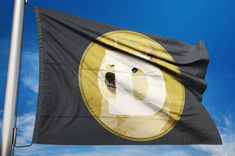 Illustrazione della bandiera dell'icona della rete di cryptocurrency di DOGECOIN fotografia stock