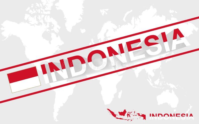 Illustrazione della bandiera e del testo della mappa dell'Indonesia illustrazione di stock