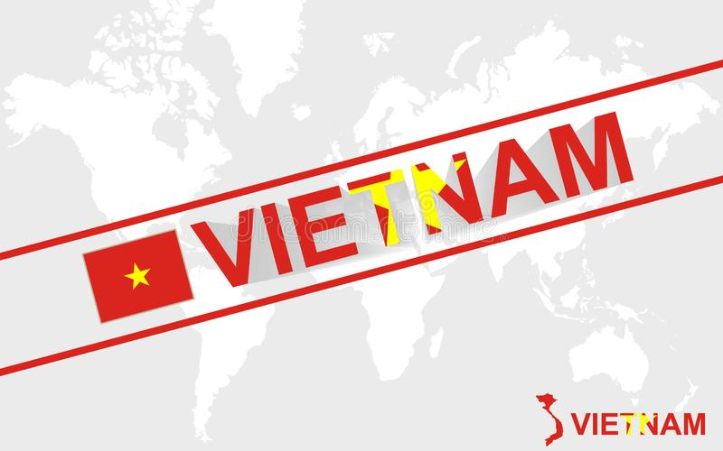 Illustrazione della bandiera e del testo della mappa del Vietnam illustrazione di stock