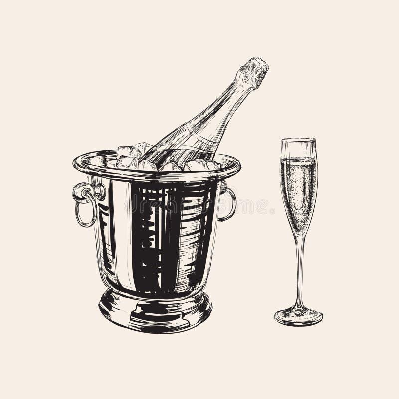 Illustrazione della bottiglia e di vetro di Champagne illustrazione vettoriale