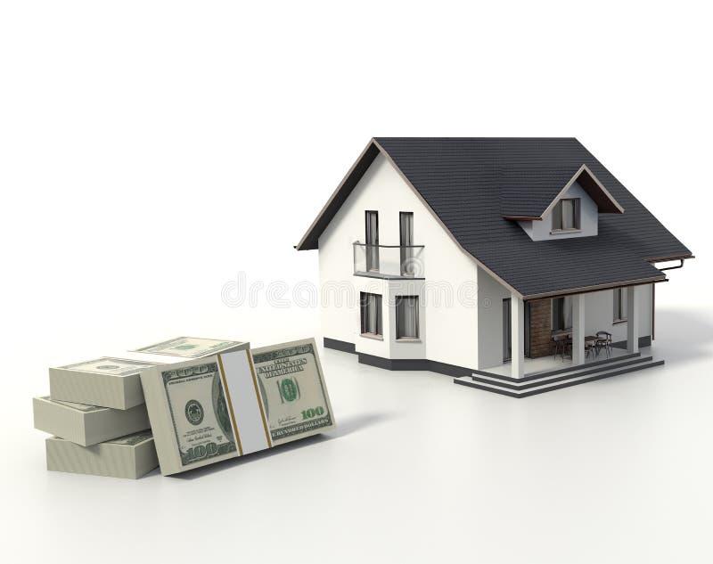 Illustrazione della Camera 3d con il concetto dei soldi che compra una casa illustrazione di stock