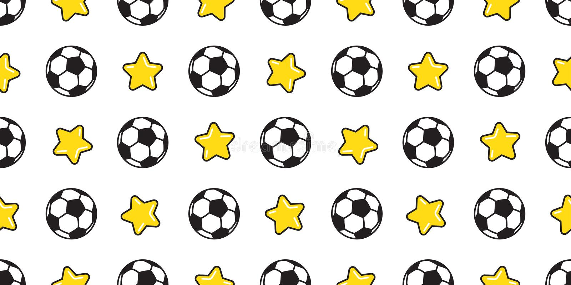 Illustrazione della carta da parati del fondo delle mattonelle isolata sport senza cuciture della stella di calcio di vettore del illustrazione vettoriale