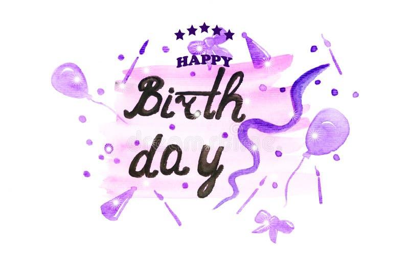 Illustrazione della carta dell'acquerello di buon compleanno royalty illustrazione gratis