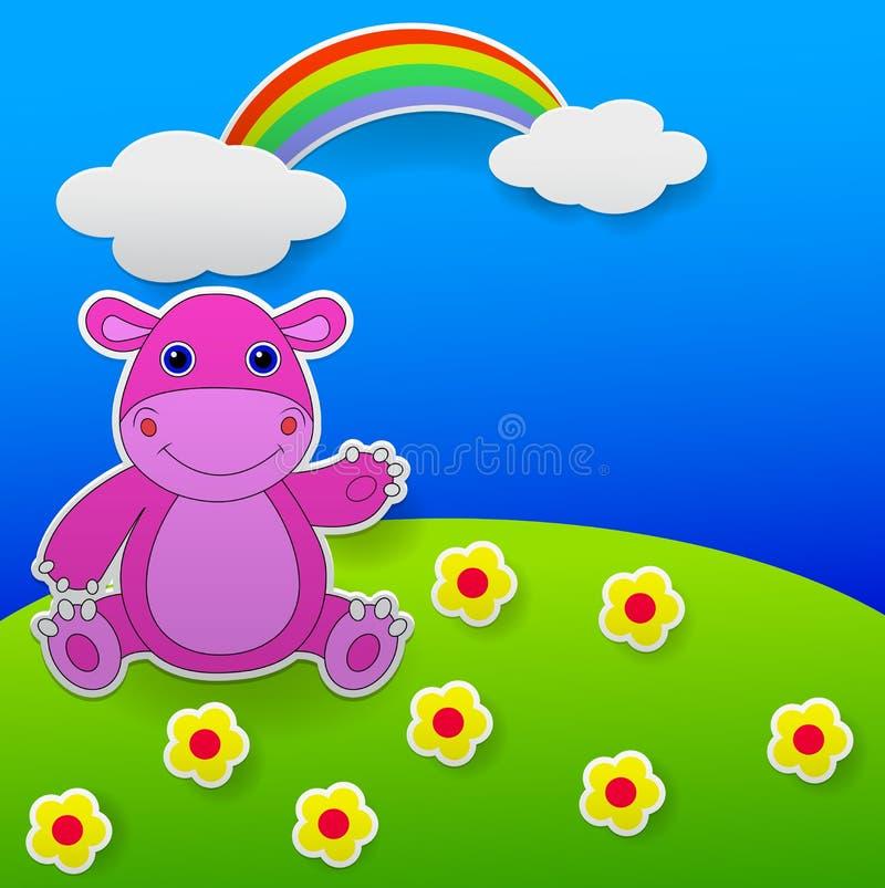 Cartolina d'auguri con la mano d'ondeggiamento dell'ippopotamo divertente illustrazione di stock