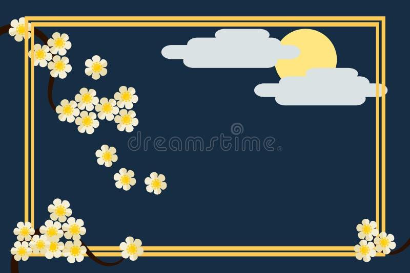 Illustrazione della cartolina d'auguri nello stile asiatico Bello floreale e luna piena dietro la nuvola C'è vettore della strutt illustrazione di stock